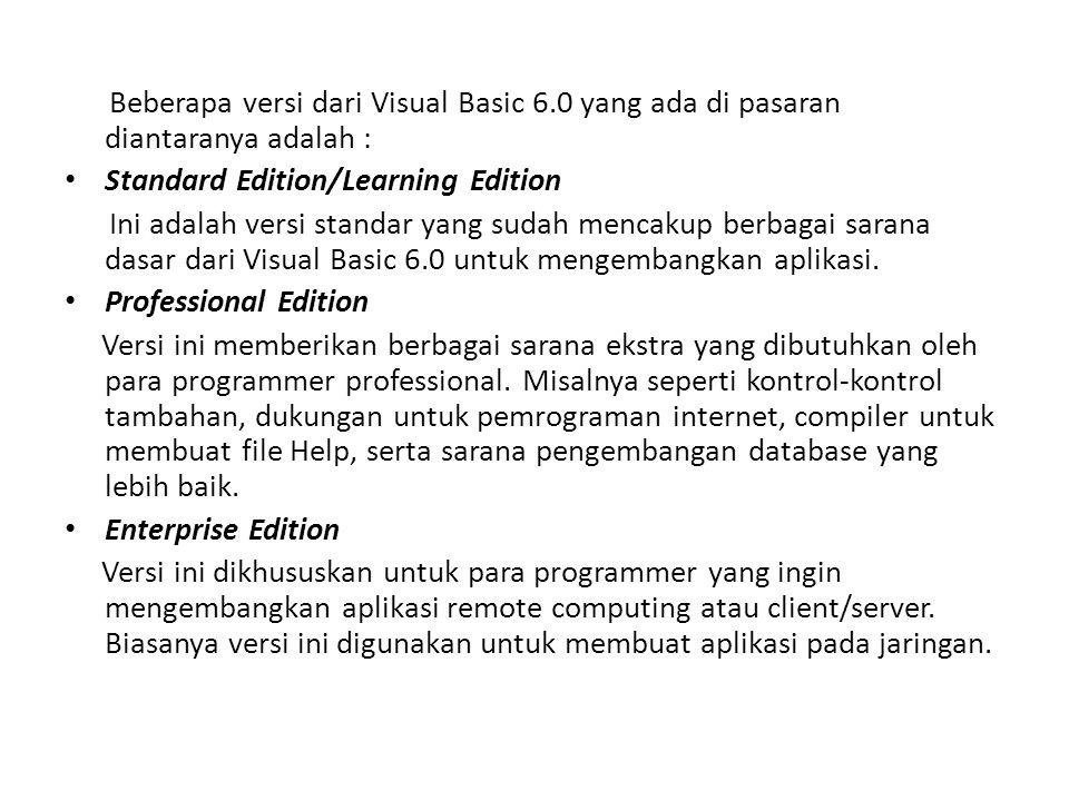 Beberapa versi dari Visual Basic 6