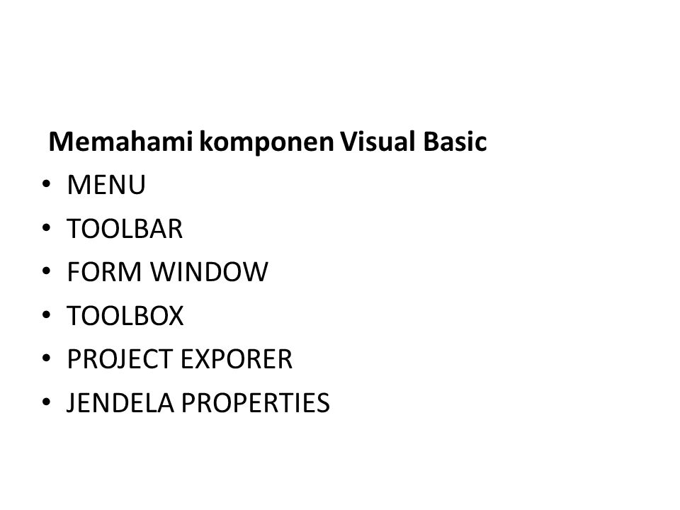 Memahami komponen Visual Basic