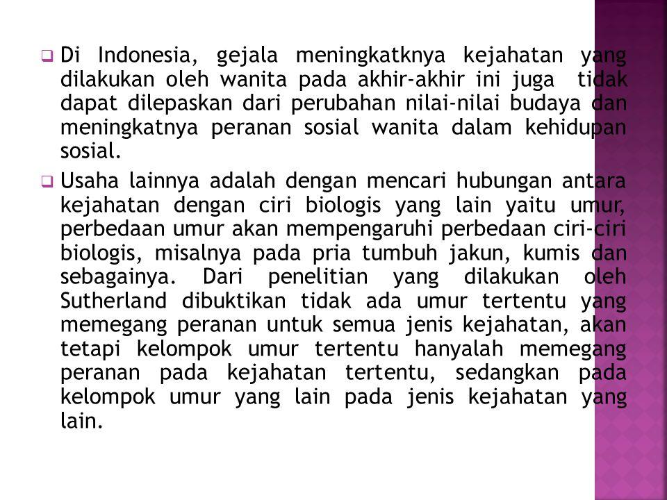 Di Indonesia, gejala meningkatknya kejahatan yang dilakukan oleh wanita pada akhir-akhir ini juga tidak dapat dilepaskan dari perubahan nilai-nilai budaya dan meningkatnya peranan sosial wanita dalam kehidupan sosial.