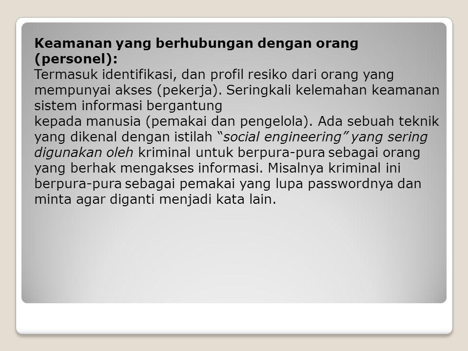 Keamanan yang berhubungan dengan orang (personel):