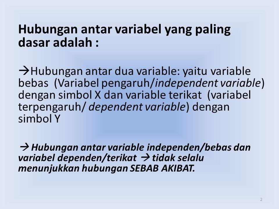 Hubungan antar variabel yang paling dasar adalah :
