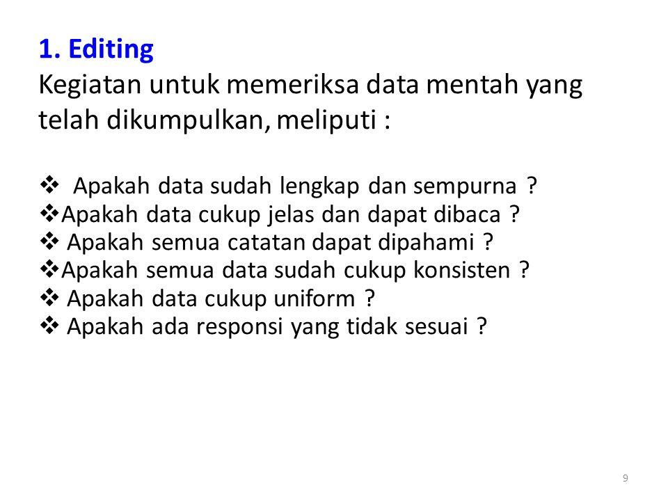 1. Editing Kegiatan untuk memeriksa data mentah yang telah dikumpulkan, meliputi : Apakah data sudah lengkap dan sempurna