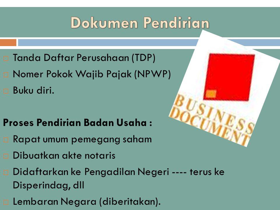 Dokumen Pendirian Tanda Daftar Perusahaan (TDP)