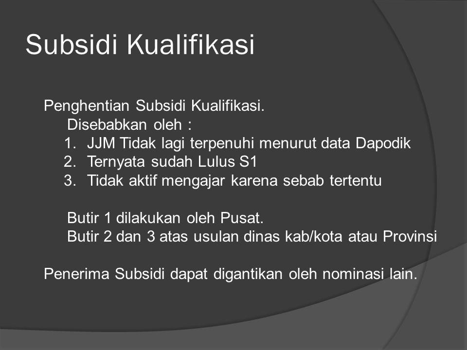 Subsidi Kualifikasi Penghentian Subsidi Kualifikasi. Disebabkan oleh :