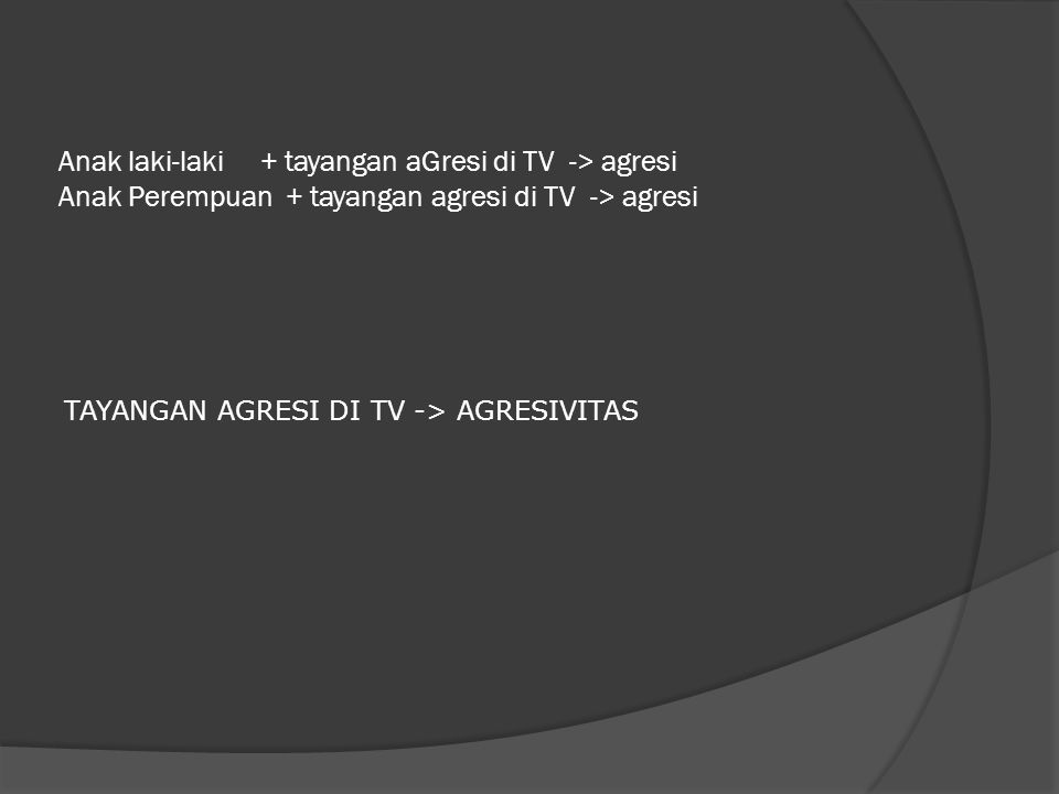 Anak laki-laki + tayangan aGresi di TV -> agresi Anak Perempuan + tayangan agresi di TV -> agresi