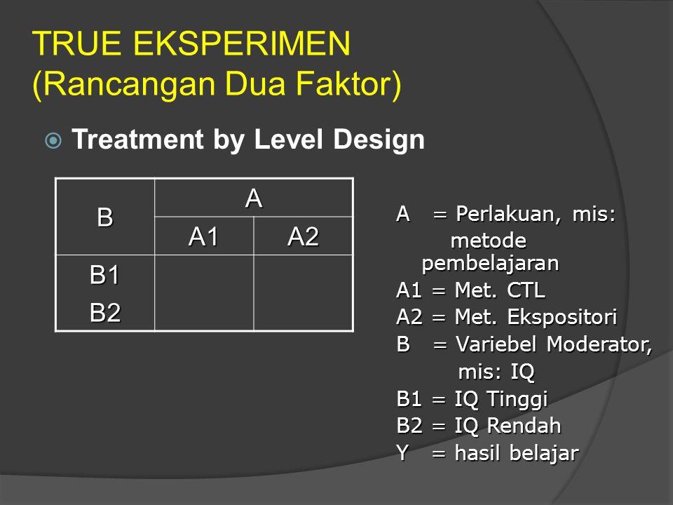 TRUE EKSPERIMEN (Rancangan Dua Faktor)