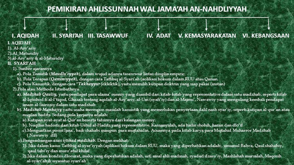 PEMIKIRAN AHLISSUNNAH WAL JAMA'AH AN-NAHDLIYYAH