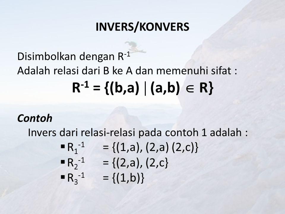 R-1 = {(b,a)  (a,b)  R} INVERS/KONVERS R1-1 = {(1,a), (2,a) (2,c)}