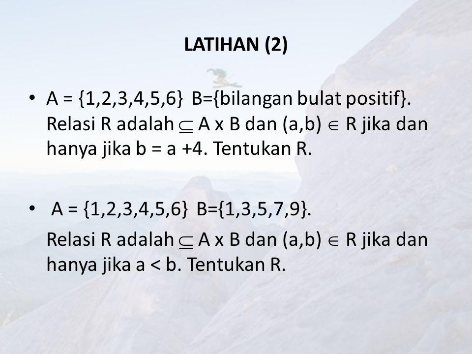 LATIHAN (2) A = {1,2,3,4,5,6} B={bilangan bulat positif}. Relasi R adalah  A x B dan (a,b)  R jika dan hanya jika b = a +4. Tentukan R.