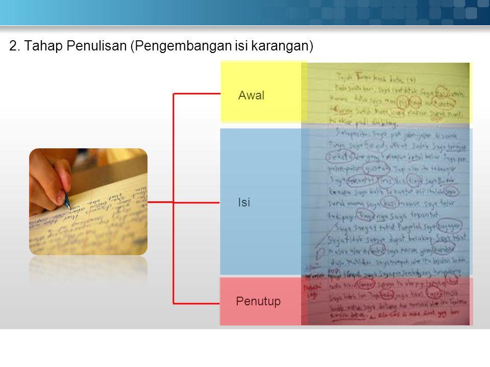 2. Tahap Penulisan (Pengembangan isi karangan)