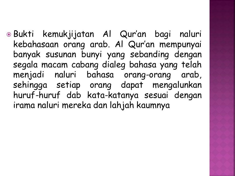 Bukti kemukjijatan Al Qur'an bagi naluri kebahasaan orang arab