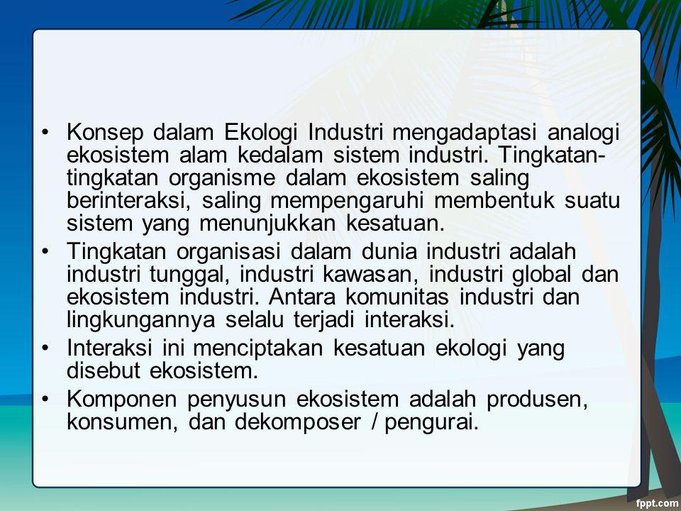 Konsep dalam Ekologi Industri mengadaptasi analogi ekosistem alam kedalam sistem industri. Tingkatan-tingkatan organisme dalam ekosistem saling berinteraksi, saling mempengaruhi membentuk suatu sistem yang menunjukkan kesatuan.
