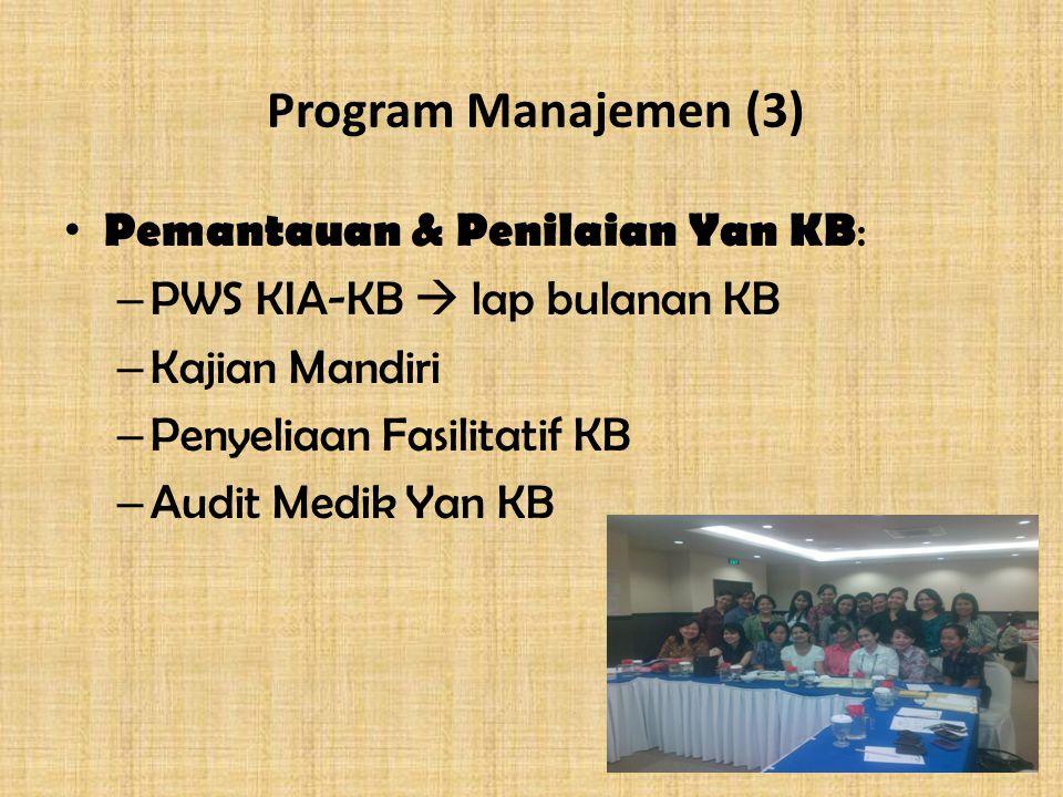 Program Manajemen (3) Pemantauan & Penilaian Yan KB: