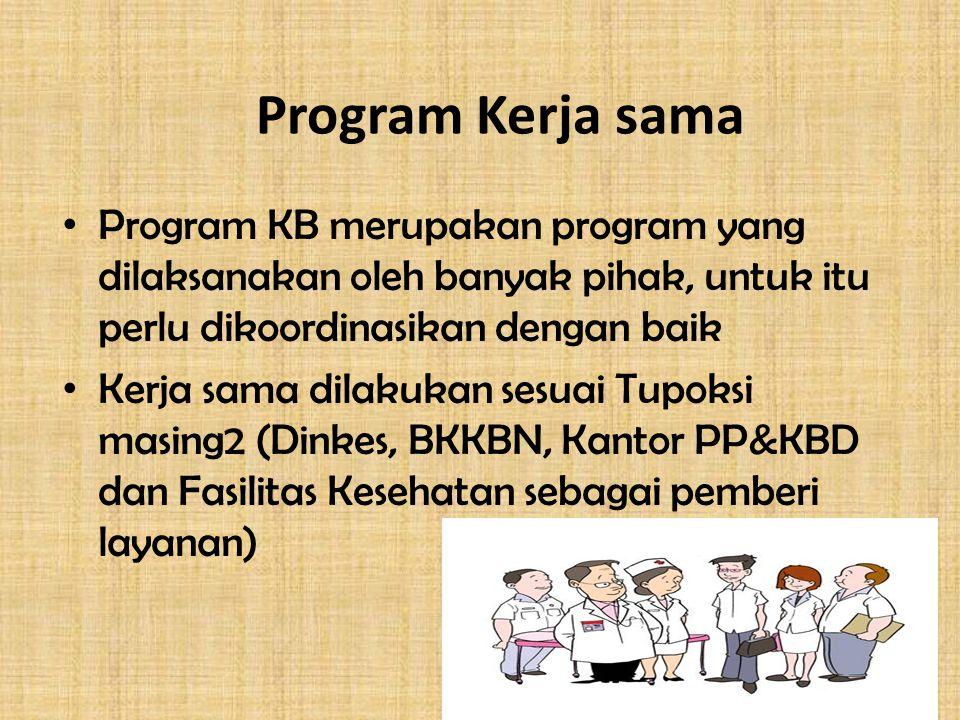 Program Kerja sama Program KB merupakan program yang dilaksanakan oleh banyak pihak, untuk itu perlu dikoordinasikan dengan baik.