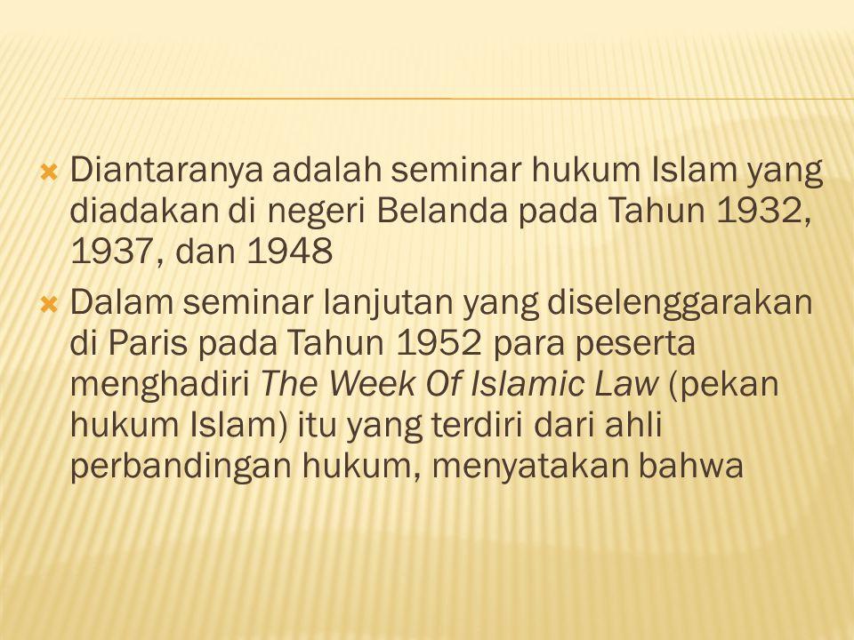 Diantaranya adalah seminar hukum Islam yang diadakan di negeri Belanda pada Tahun 1932, 1937, dan 1948