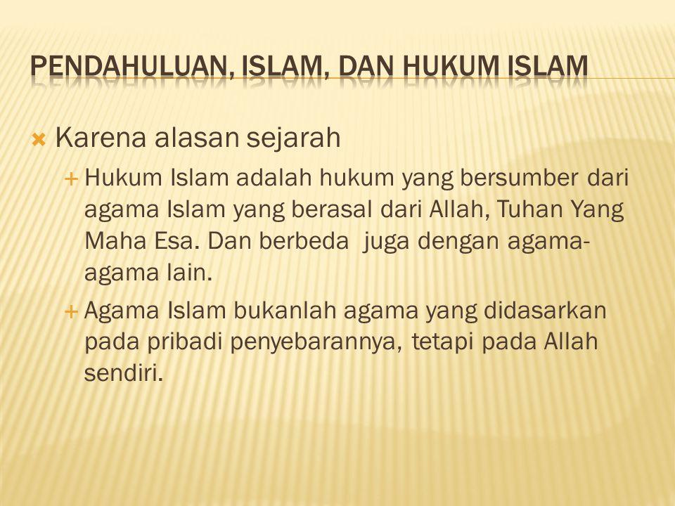 PENDAHULUAN, ISLAM, DAN HUKUM ISLAM