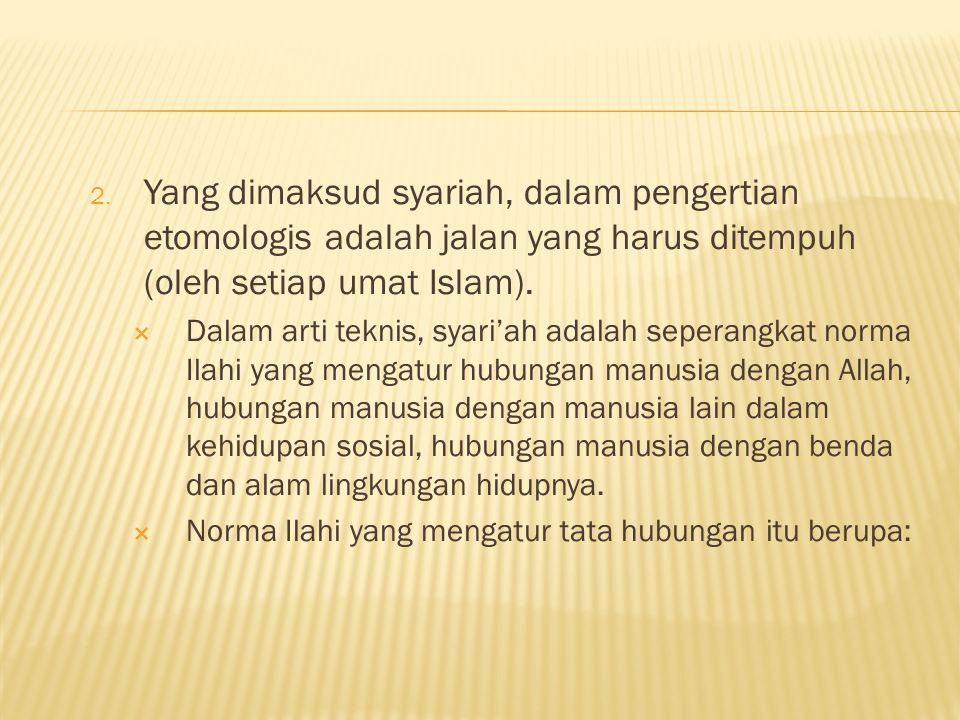 Yang dimaksud syariah, dalam pengertian etomologis adalah jalan yang harus ditempuh (oleh setiap umat Islam).