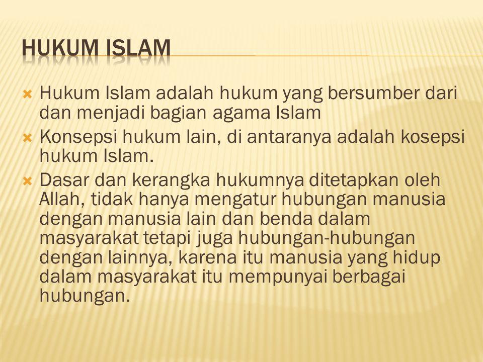 HUKUM ISLAM Hukum Islam adalah hukum yang bersumber dari dan menjadi bagian agama Islam.