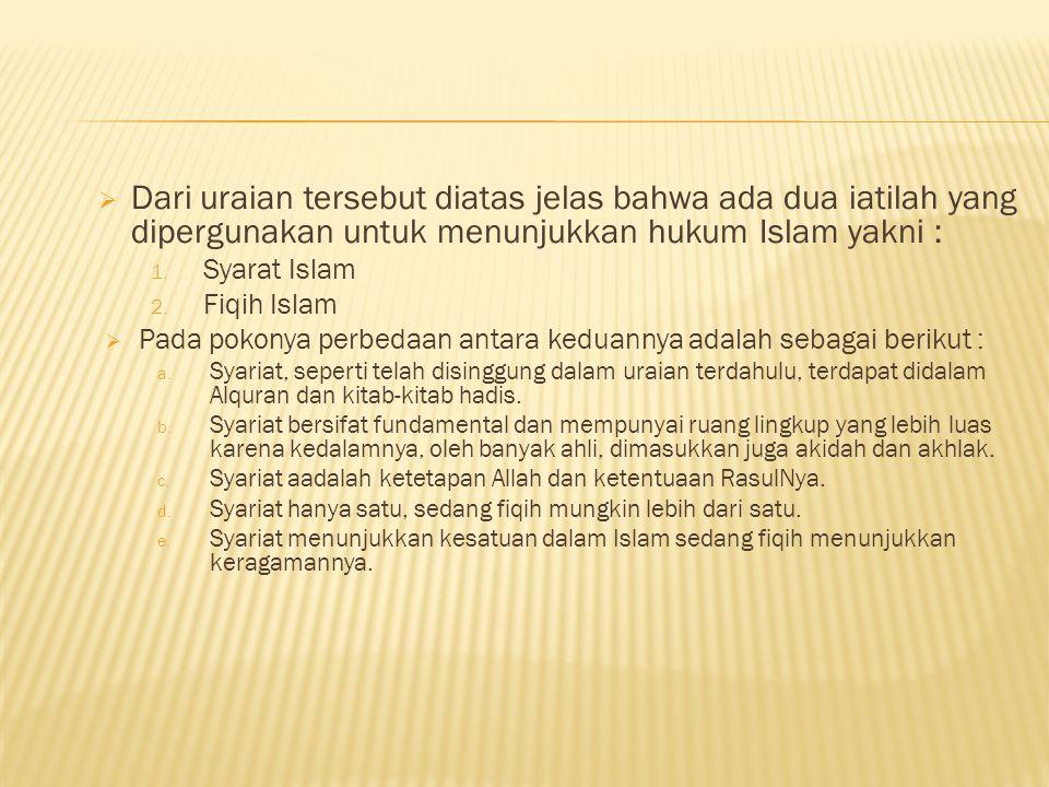 Dari uraian tersebut diatas jelas bahwa ada dua iatilah yang dipergunakan untuk menunjukkan hukum Islam yakni :
