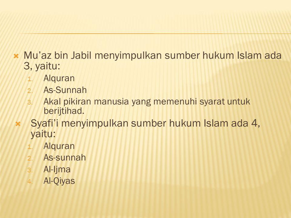 Mu'az bin Jabil menyimpulkan sumber hukum Islam ada 3, yaitu: