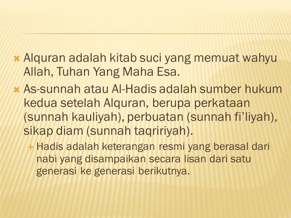 Alquran adalah kitab suci yang memuat wahyu Allah, Tuhan Yang Maha Esa.