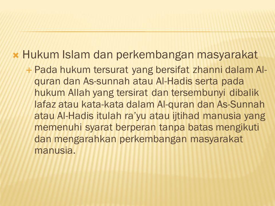 Hukum Islam dan perkembangan masyarakat