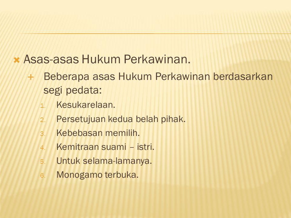 Asas-asas Hukum Perkawinan.