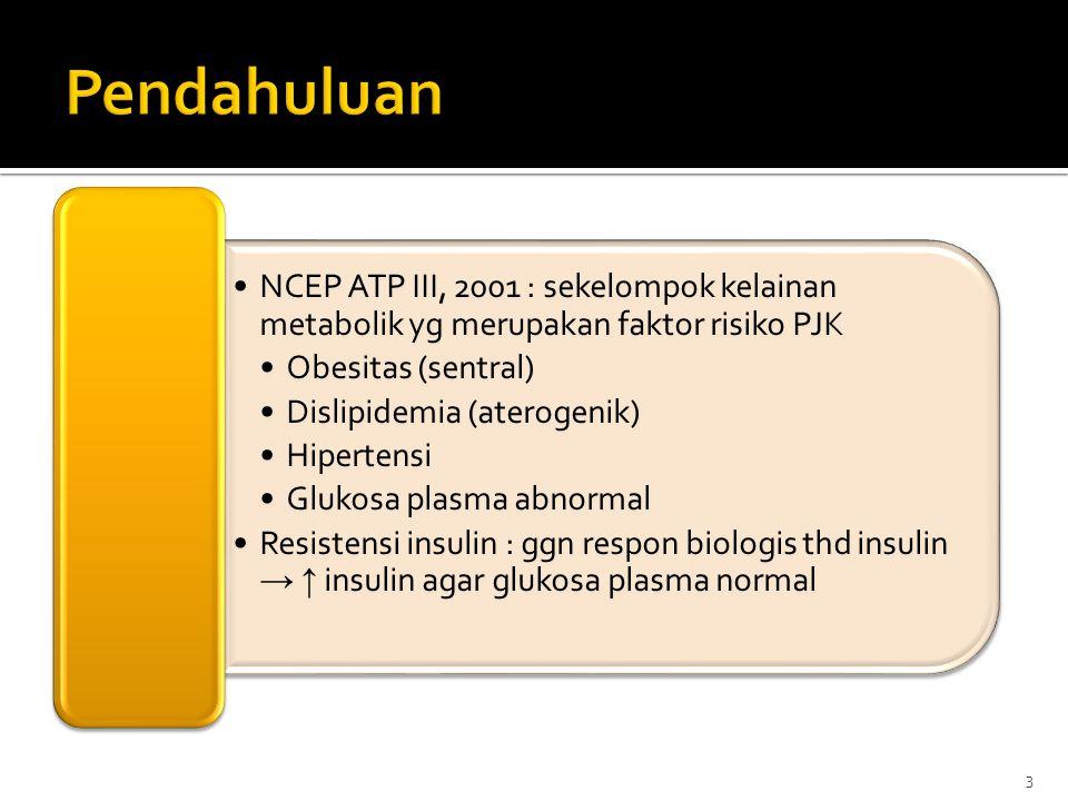 Pendahuluan NCEP ATP III, 2001 : sekelompok kelainan metabolik yg merupakan faktor risiko PJK. Obesitas (sentral)