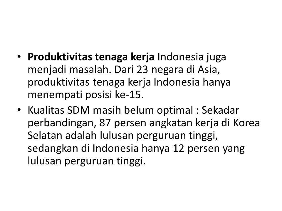 Produktivitas tenaga kerja Indonesia juga menjadi masalah