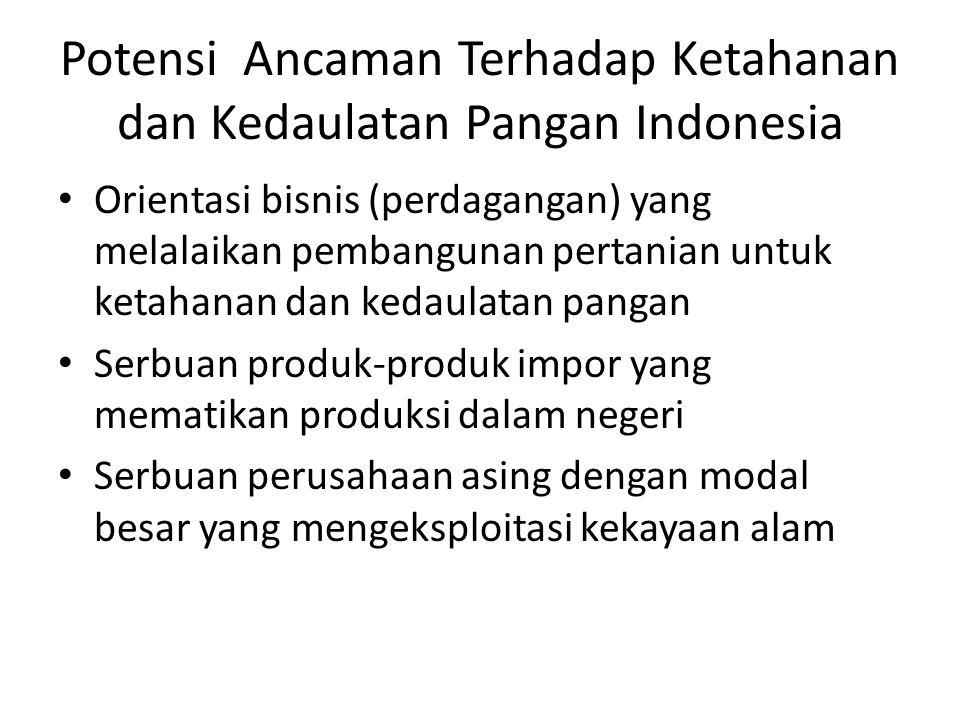 Potensi Ancaman Terhadap Ketahanan dan Kedaulatan Pangan Indonesia