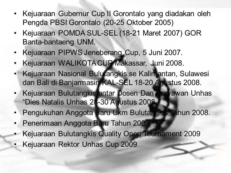 Kejuaraan Gubernur Cup II Gorontalo yang diadakan oleh Pengda PBSI Gorontalo (20-25 Oktober 2005)