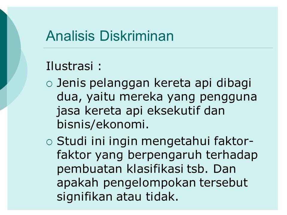 Analisis Diskriminan Ilustrasi :