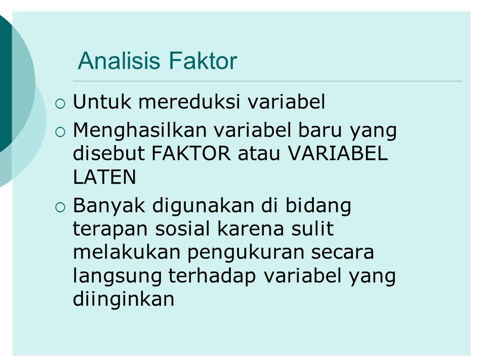 Analisis Faktor Untuk mereduksi variabel