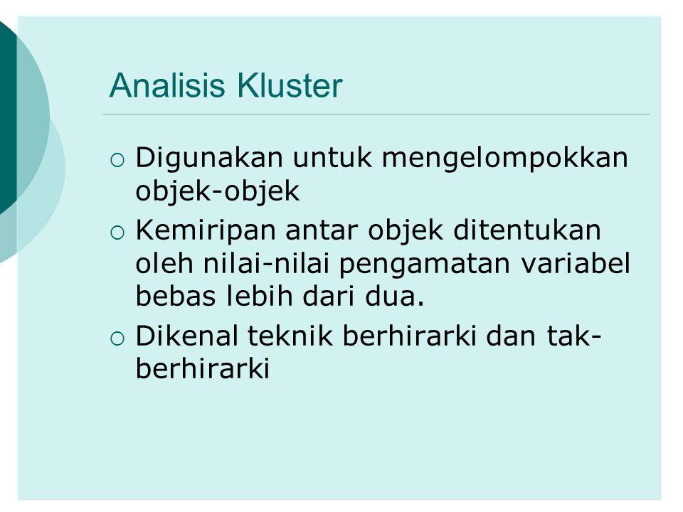 Analisis Kluster Digunakan untuk mengelompokkan objek-objek
