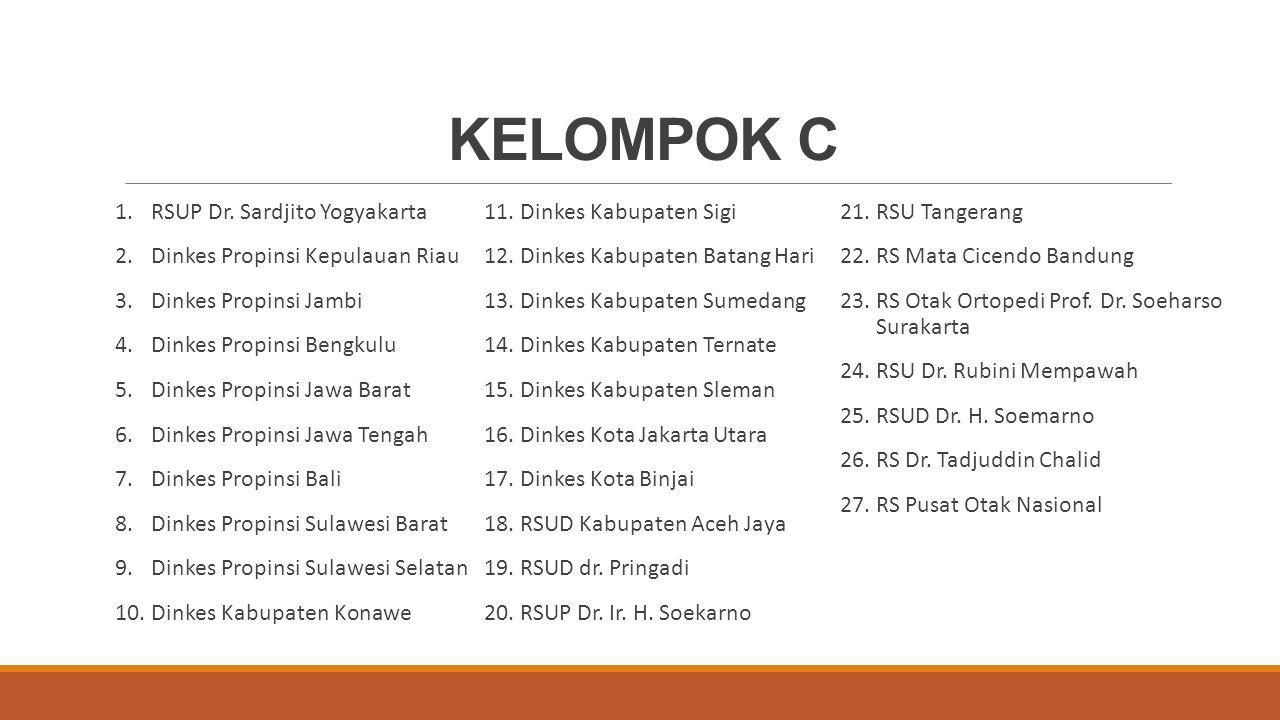 KELOMPOK C RSUP Dr. Sardjito Yogyakarta Dinkes Propinsi Kepulauan Riau