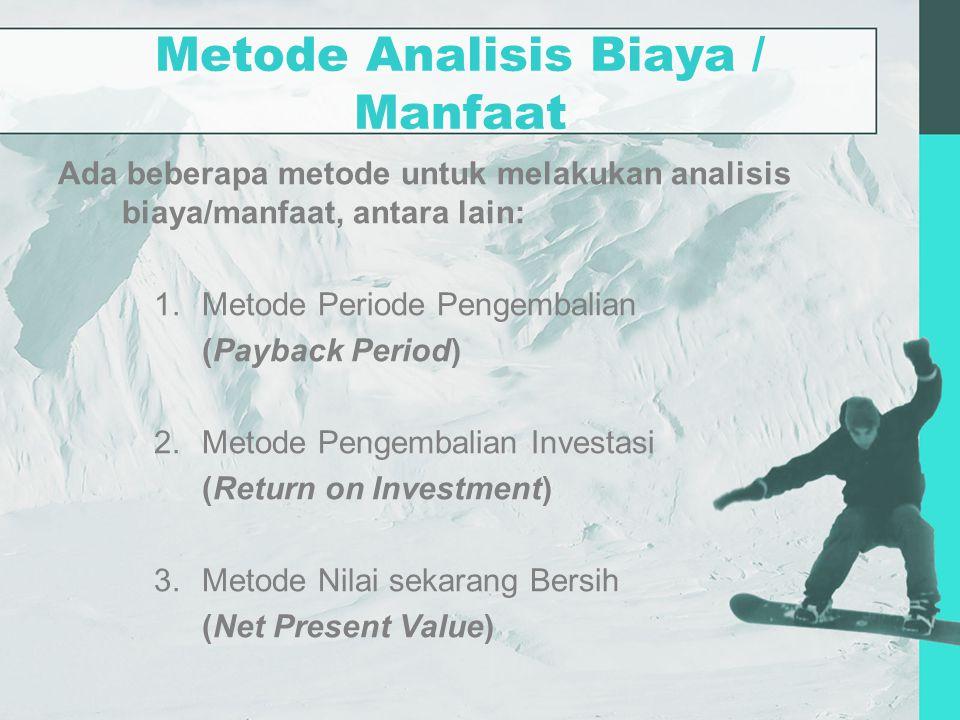 Metode Analisis Biaya / Manfaat