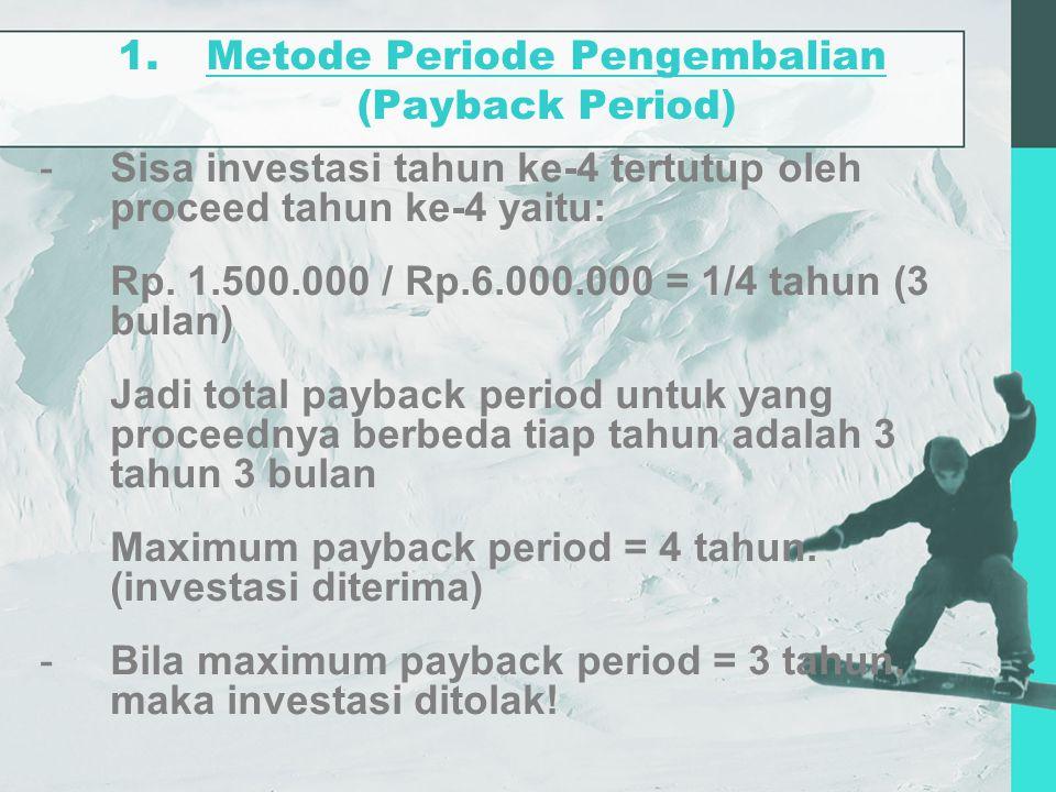 Metode Periode Pengembalian (Payback Period)