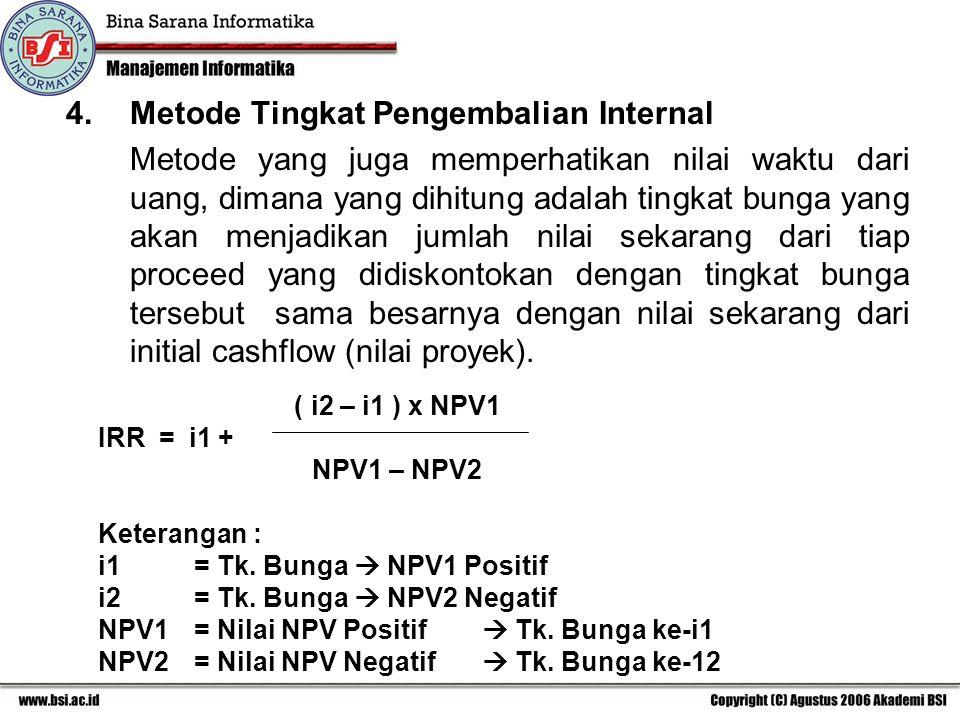 4. Metode Tingkat Pengembalian Internal