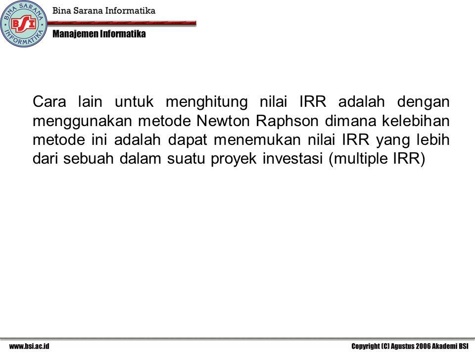 Cara lain untuk menghitung nilai IRR adalah dengan menggunakan metode Newton Raphson dimana kelebihan metode ini adalah dapat menemukan nilai IRR yang lebih dari sebuah dalam suatu proyek investasi (multiple IRR)