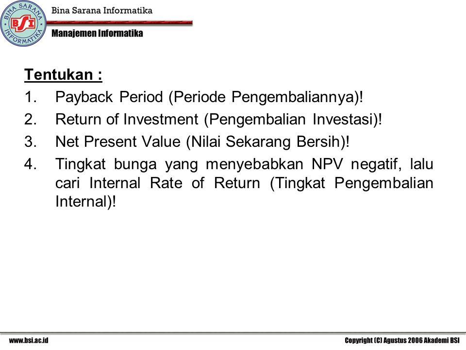 Tentukan : Payback Period (Periode Pengembaliannya)! Return of Investment (Pengembalian Investasi)!