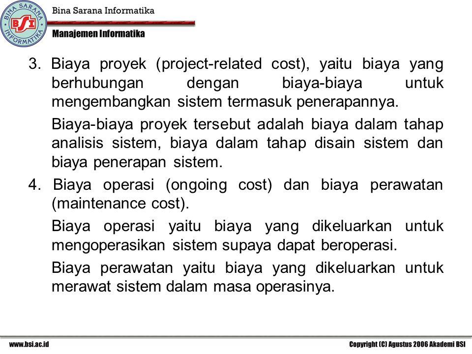 3. Biaya proyek (project-related cost), yaitu biaya yang berhubungan dengan biaya-biaya untuk mengembangkan sistem termasuk penerapannya.