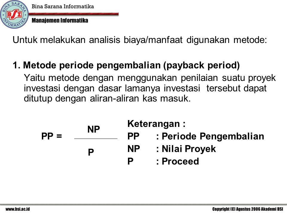 Untuk melakukan analisis biaya/manfaat digunakan metode: