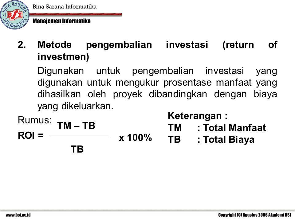 2. Metode pengembalian investasi (return of investmen)