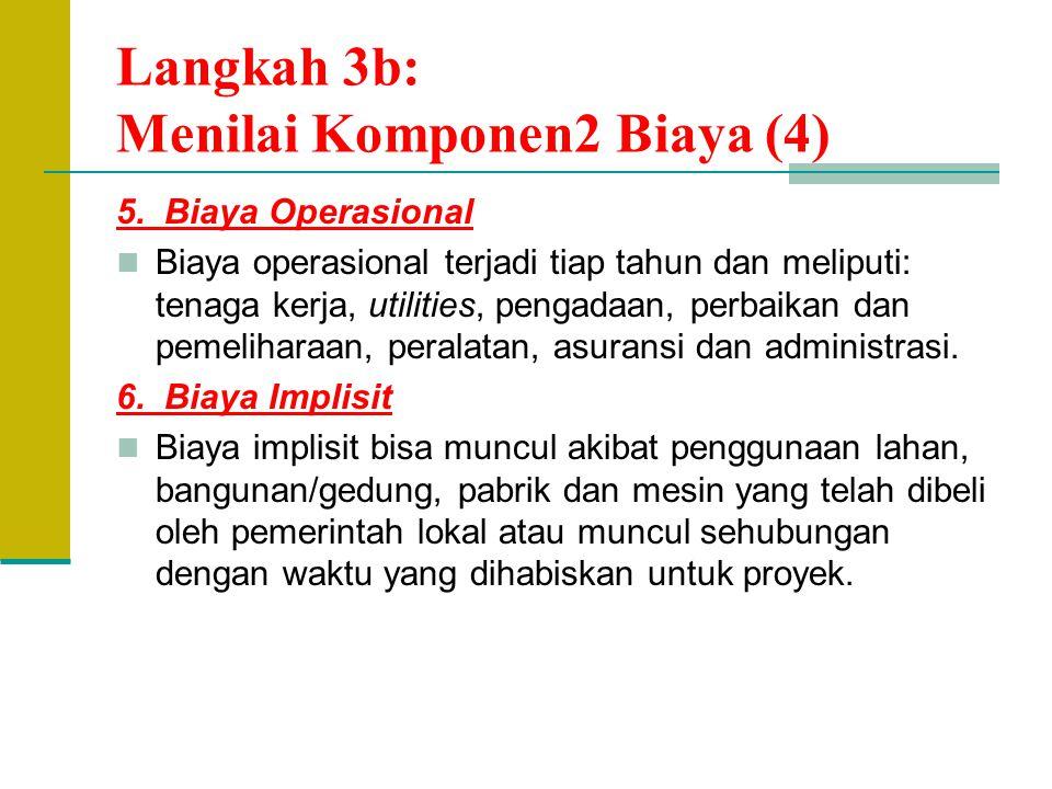 Langkah 3b: Menilai Komponen2 Biaya (4)