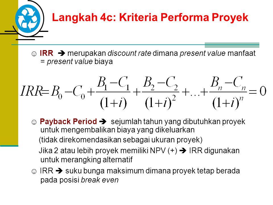 Langkah 4c: Kriteria Performa Proyek