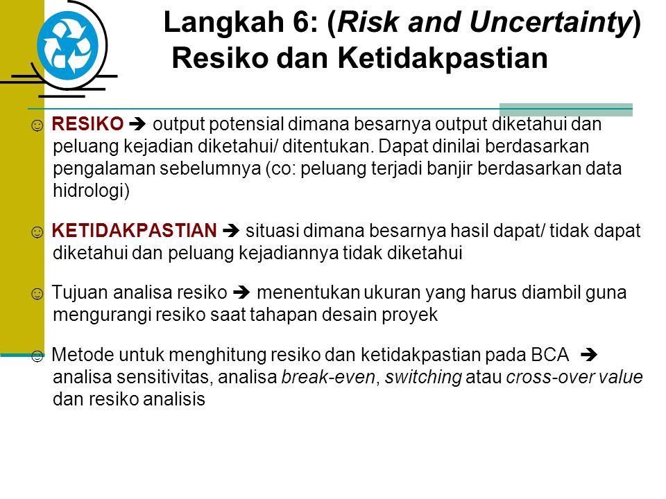 Langkah 6: (Risk and Uncertainty) Resiko dan Ketidakpastian