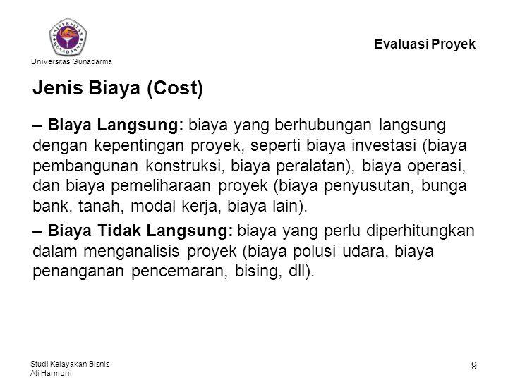 Evaluasi Proyek Jenis Biaya (Cost)