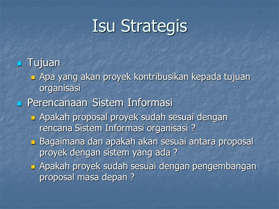 Isu Strategis Tujuan Perencanaan Sistem Informasi