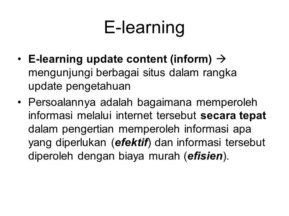 E-learning E-learning update content (inform)  mengunjungi berbagai situs dalam rangka update pengetahuan.