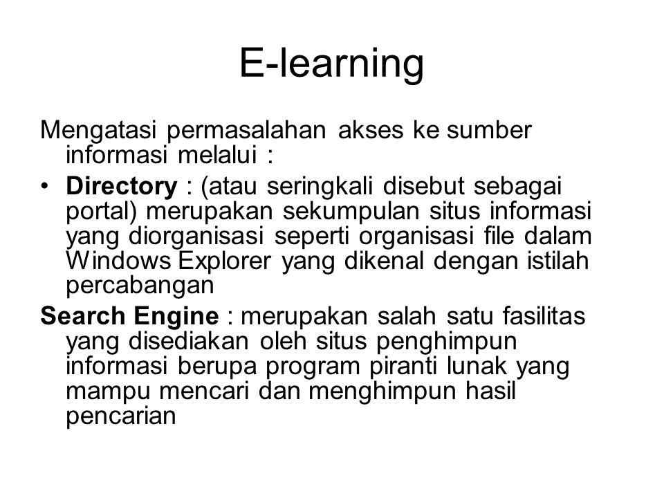 E-learning Mengatasi permasalahan akses ke sumber informasi melalui :